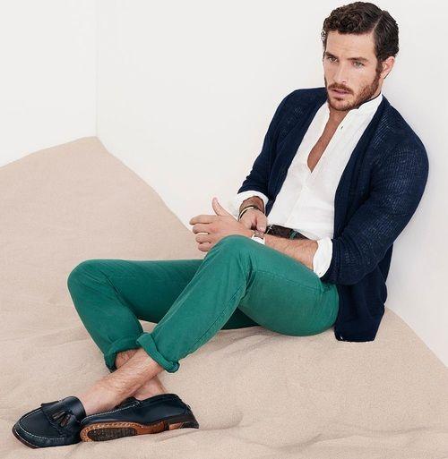 Spring / Summer - casual style - preppy - navy sports blazer + white mandarin collar shirt + green chinos + navy boat shoes