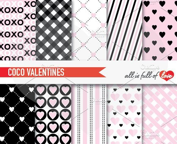 Black Pink Valentine Background. Patterns