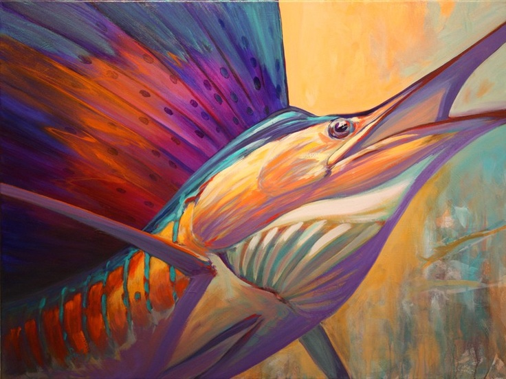 """Rising Son"" A contemporary Impressionist Sailfish Game Fish Painting by renowned Fly Fishing and Sport Fishing Artist Savlen."