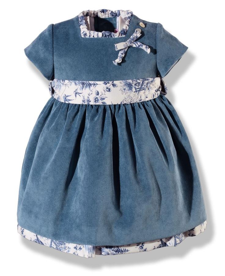 Vestido de vuelo en pana azul azafata