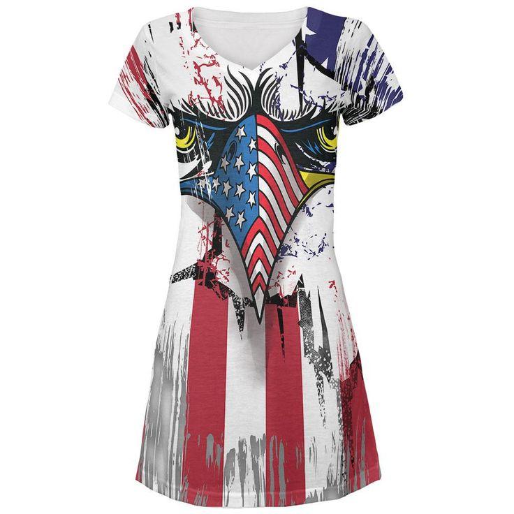 Patriot Eagle All Over Juniors V-Neck Dress