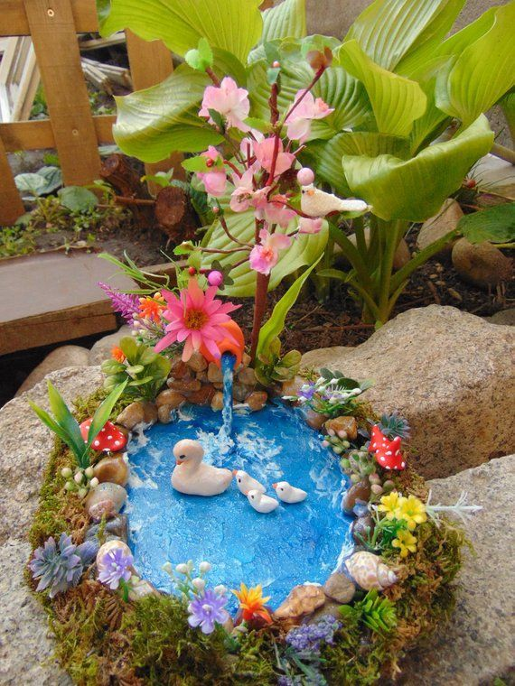 Thetinyshinycottage Fairy Garden Pond Fairy Pond Miniature Pond Fairy Garden 2020 ガーデニング エアープランツ テラリウム