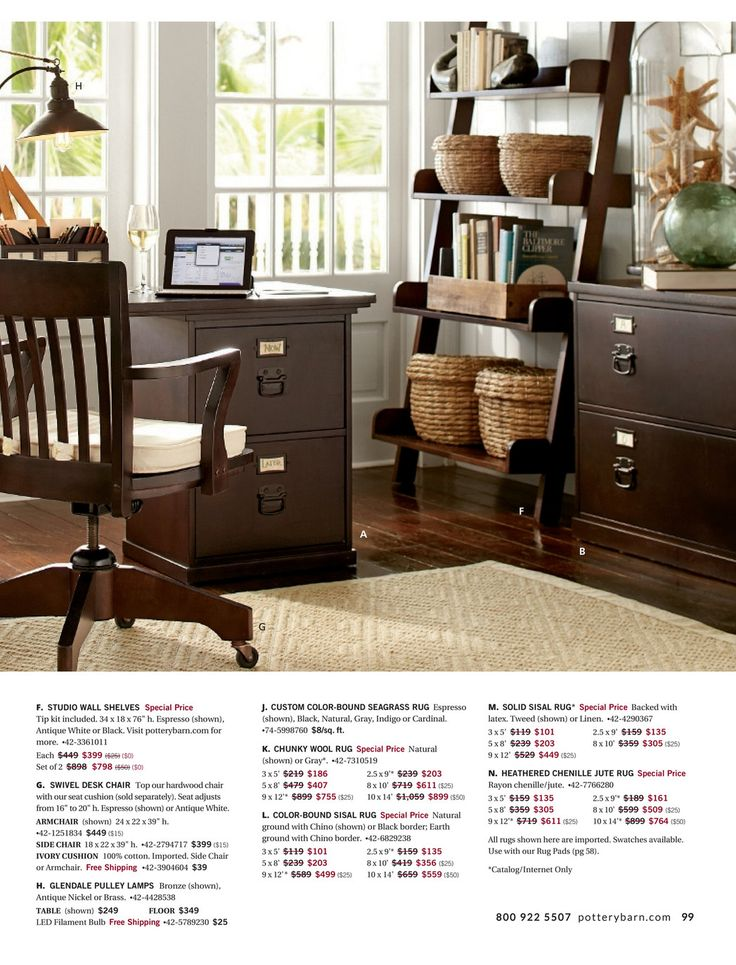 Desk chair. Pottery Barn - Fall Preview 2016 - Page 98-99