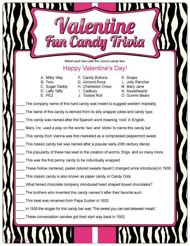 Valentine Fun Candy Trivia mooshy mooshy Pinterest