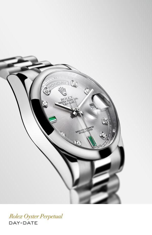 Rolex Day-Date 36 mm in platinum with a domed bezel, gem-set rhodium dial and President bracelet. #RolexOfficial