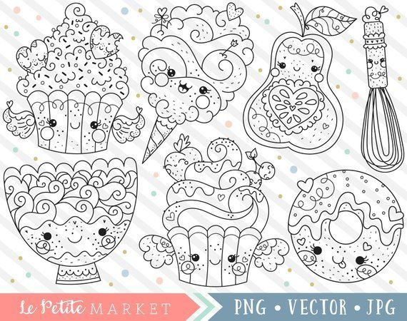 Kawaii Food Clipart Cute Baking Clipart Dessert Clipart Cute Food Clip Art Kawaii Cupcake Donut Cotton Candy Kawa Clip Art Art Drawings For Kids Coloring Books