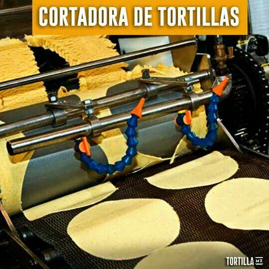 ¿Te has fijado la perfección con la que cortan las maquinas las tortillas? Las maquinas tortilladoras tienen unos rodillos cortadores, las cuales dan forma a la masa para formar una tortilla con una circunferencia perfecta. Hay cortadores de diferentes tamaños, por ejemplo la taquera que es un poco más pequeña que la tortilla de mesa tradicional. Shared by Edith Cruz