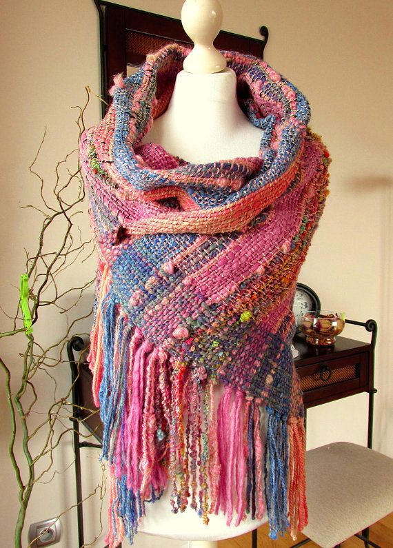 Long handwoven scarf Handspun handwoven wrap shawl stole Art