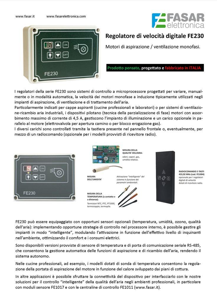 Regolatore di velocità digitale FE230 per motori di aspirazione / ventilazione monofasi (www.fasar.it).