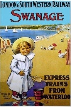 Swanage ~ London & Southwestern Railway, England vintage beach travel poster
