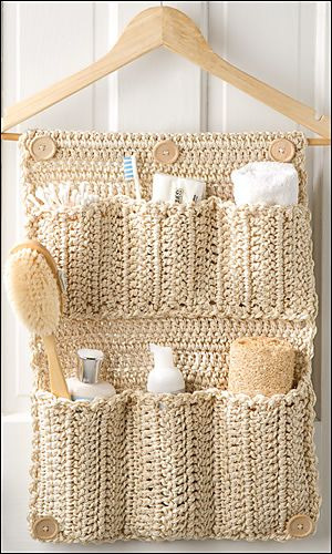 Crocheted Bathroom Organizer.