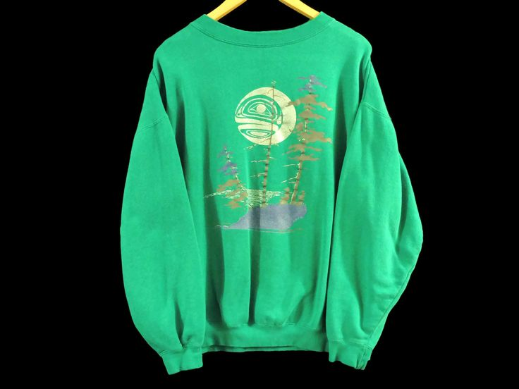 VTG New Moon Rising Crewneck Sweatshirt - Large - Teal - Native American - Green - Free Shipping - Vintage Clothing - 90s Clothing - by BLACKMAGIKA on Etsy