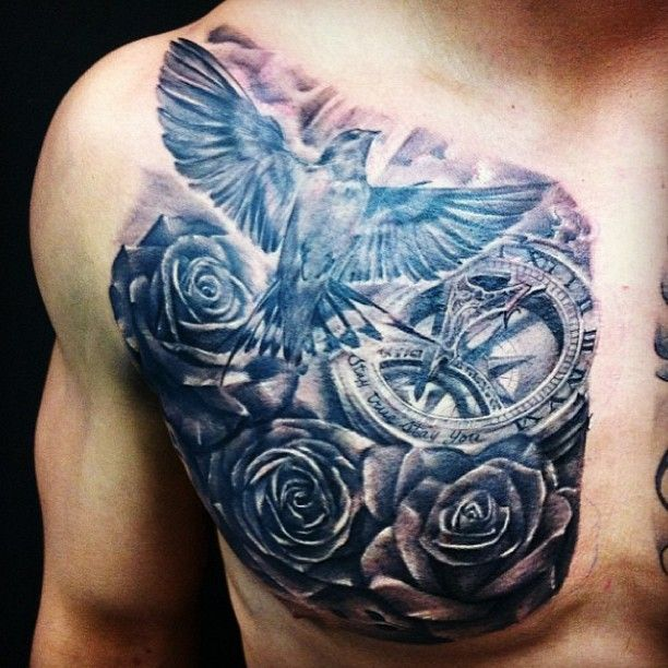45 Intriguing Chest Tattoos For Men: Dove Chest Tattoo DesignsAwesome Dove Chest Tattoo For Men