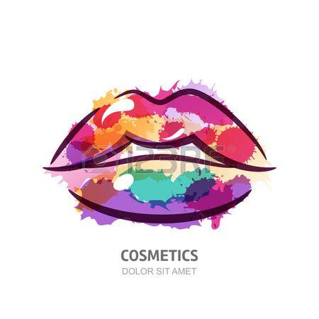 Vector acquarello illustrazione di variopinti delle donne labbra. disegno astratto logo. Priorità bassa dell'acquerello. Concetto per salone di bellezza, cosmetici etichetta, le procedure di cosmetologia, viso e trucco stilista.