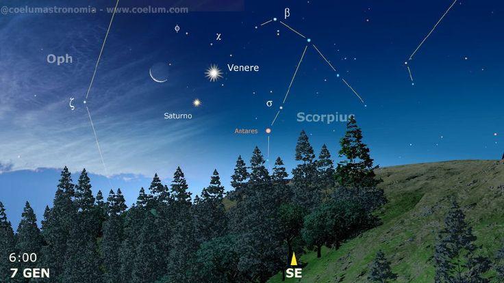 La mattina del 7 gennaio una splendida congiunzione sull'orizzonte sudest! #Luna #Saturno #Venere Tutti gli eventi del mese su Coelum di gennaio 2015  Ora in formato digitale e gratuito per tutti! Segui COELUM Astronomia ci aiuterai a fare sempre meglio!