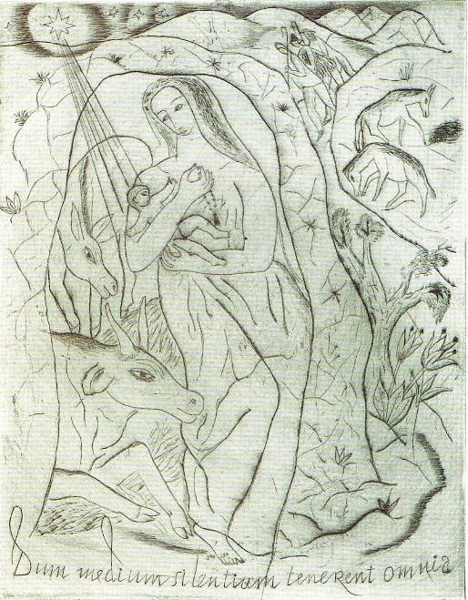 David Jones Nativity with Beast and Shepherds (1927) - Christmas Card