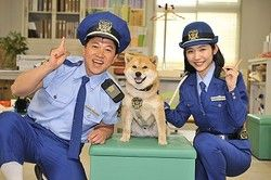 「さんすう犬ワン」の会見に登場した(左から)スギちゃん、りんちゃん、伊藤梨沙子/(C)NHK