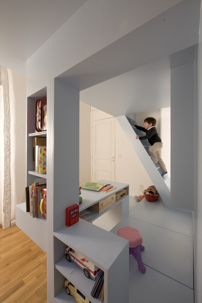 Small spaces and funky angles make for a great kid room.