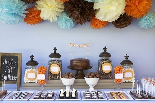 Aqua, orange and brown dessert table -- perfect for fall