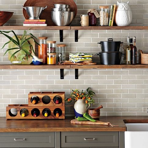 I love the Dark grey cabinets and light grey tiles... with the wood. Awesome.