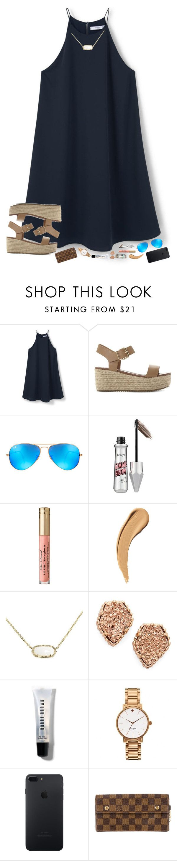 """really want to go to the KLOVE Christmas concert "" by hopemarlee ❤ liked on Polyvore featuring MANGO, Steve Madden, Ray-Ban, Benefit, Kendra Scott, Bobbi Brown Cosmetics, Kate Spade and Louis Vuitton"