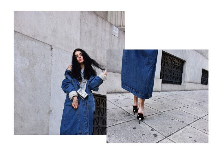Denim shearling outfit inspiration for fall ❤️