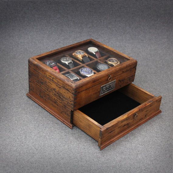 Personalized Rustic Men's Watch Box for 8 watches and drawer with glass top