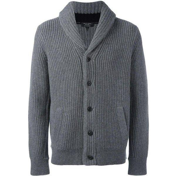 Rag & Bone shawl neck cardigan ($459) ❤ liked on Polyvore featuring men's fashion, men's clothing, men's sweaters, grey, mens cardigan sweaters, mens cashmere sweaters, mens cashmere cardigan sweater, mens gray sweater and mens grey sweater