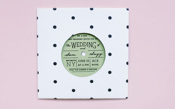 Modern Wedding Invitation Polka Dot Record With By Ellothere