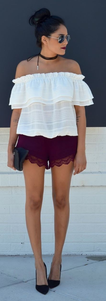 White Off The Shoulder Top + Wine Lace Shorts                                                                             Source