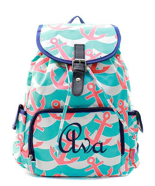 Monogram Backpack/ personalize Anchor by sewsassybootique on Etsy