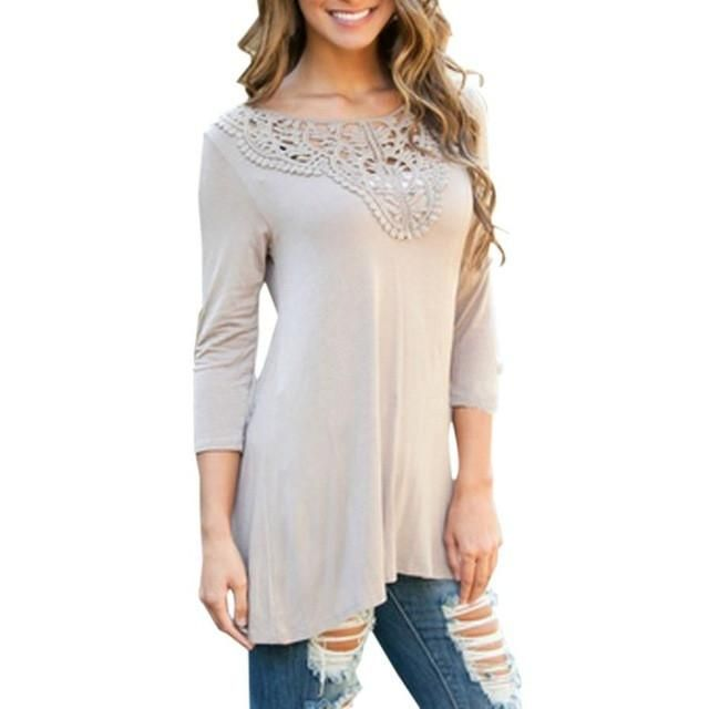 Autumn Slim Blouse Ladies Lace Splice Solid Long Sleeve Casual Tops