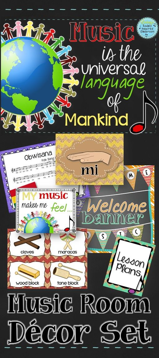 """Music is the universal language of mankind"" - Music room decor pack. Includes inspirational quote posters, ""Welcome to Music"" pennant banner, 2 bulletin board kits, solfege hand sign posters, dynamic posters, instrument labels for classroom and Orff instruments, binder covers"