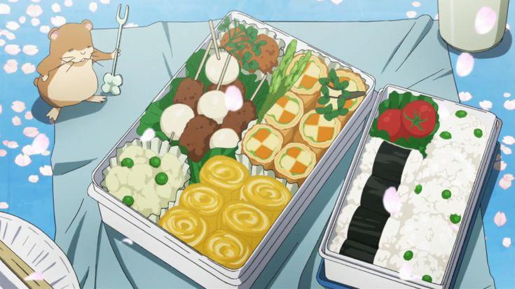 Itadakimasu Anime! (Bento of onigiri, tamagoyaki, potato salad,...)