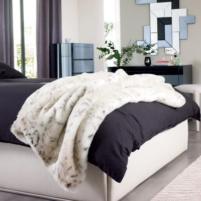 Click to zoom - Faux fur lynx throw
