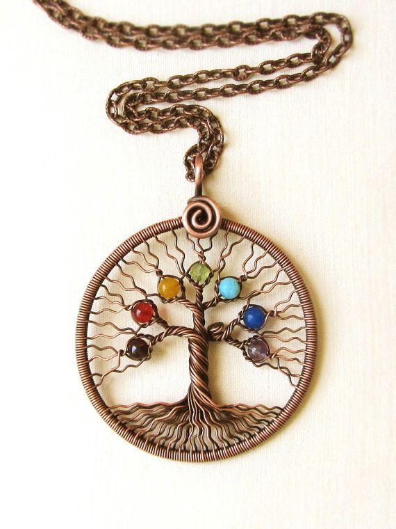 Chakra Yoga-collar árbol de la vida colgante del por MagicWire                                                                                                                                                                                 Más