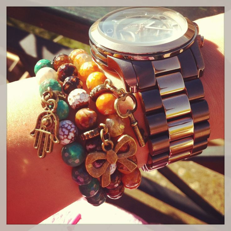 HandMade by Miha Voineag agate charm bracelets and MK watch! ♥