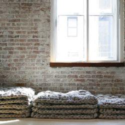 woolInteriors Wall, Wool Knits, Knits Cushions, Wool Blankets, Dark Wood, Knits Crochet Floors, Bricks, Home Design, Wool Rugs
