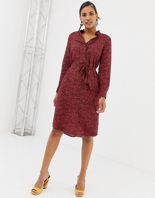 5eee259e4e13 Oasis shirt dress with tie waist in red animal print