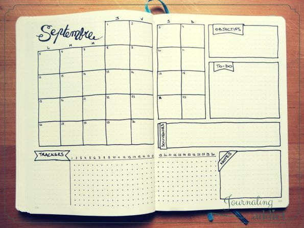 bullet journal page monthly layout spread