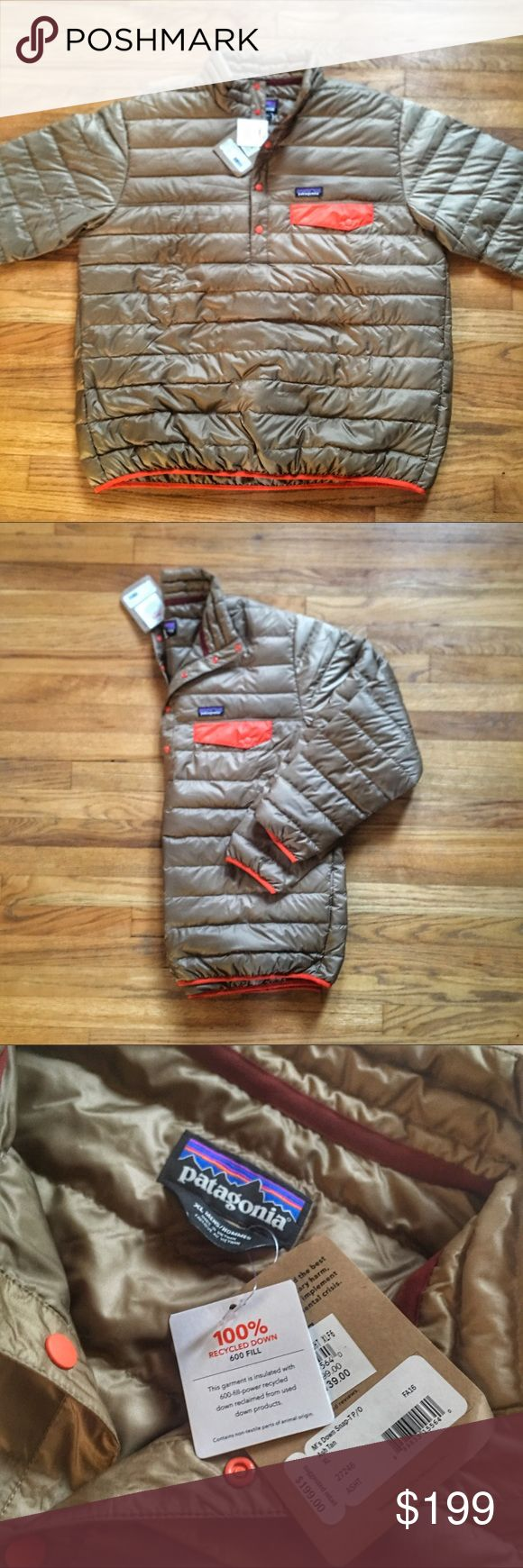 NWT Patagonia Down Snap-T Pullover Jacket PRICE IS FIRM - OFFERS NOT ACCEPTED.  NWT Patagonia Down Snap-T Pullover Jacket - Retails $199.  Size XL.  New with tags - never worn.  Color is Ash Tan with orange accents. Patagonia Jackets & Coats Puffers