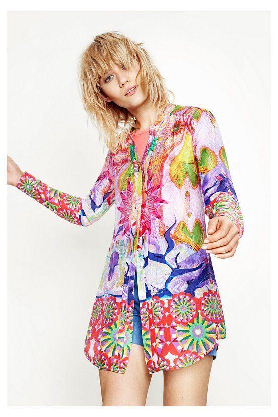 Camisa colorida con cuello mao - Rosa | Desigual.com L