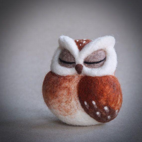 MADE TO ORDER - needle felted owl sculpture - sleeping owl - awake owl -horned owl - fibre art - uk
