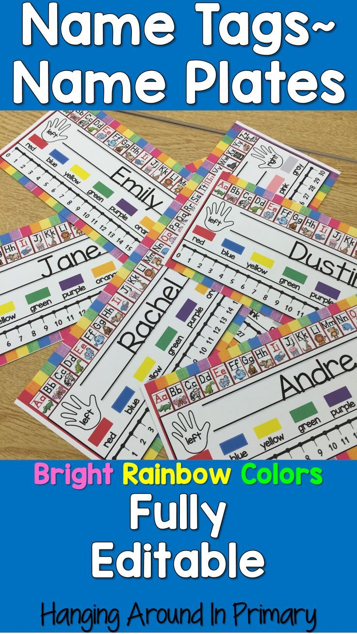 These name tags/name plates are fully editable and available in 9 different colorful rainbow designs.
