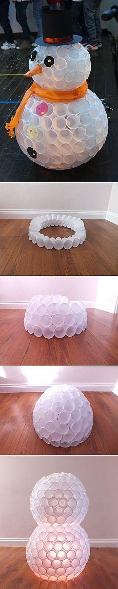 Снеговик из пластиковых стаканчиков с МК | Варварушка-Рукодельница