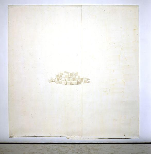 Toba Khedoori, Untitled (Blocks) 2002 Oil and wax on paper 12 x 12 feet (3.7 x 3.7cm)