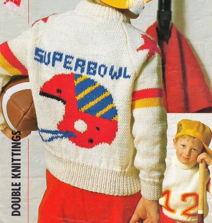 NFL AMERICAN FOOTBALL CHILDS SUPERBOWL SPORT JUMPER 61-81 8PLY KNITTING PATTERN
