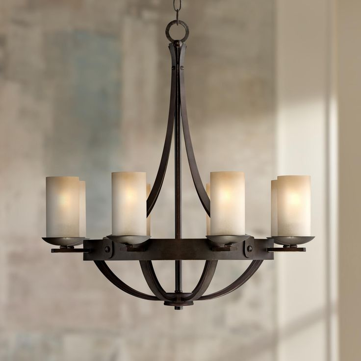 Bronze 28 wide scavo glass chandelier