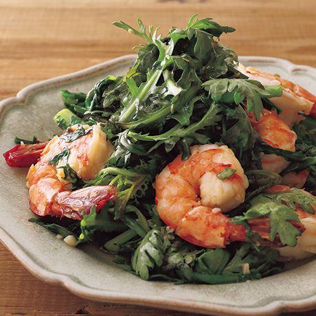 春菊とえびのガーリック炒め   コウケンテツさんの炒めものの料理レシピ   プロの簡単料理レシピはレタスクラブニュース