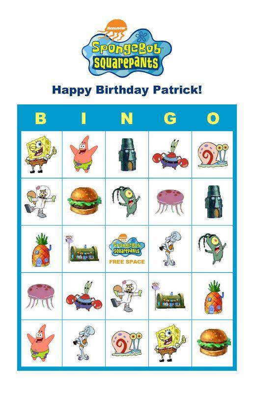 SpongeBob Squarepants Birthday Party Game Bingo Cards
